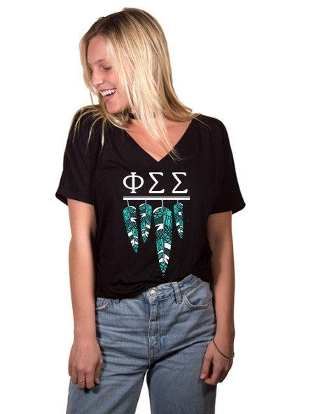 Phi Sigma Sigma Tribal Feathers Slouchy V-neck Tee