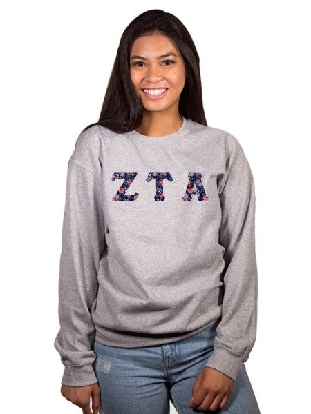 Zeta Tau Alpha Crewneck Sweatshirt with Sewn-On Letters