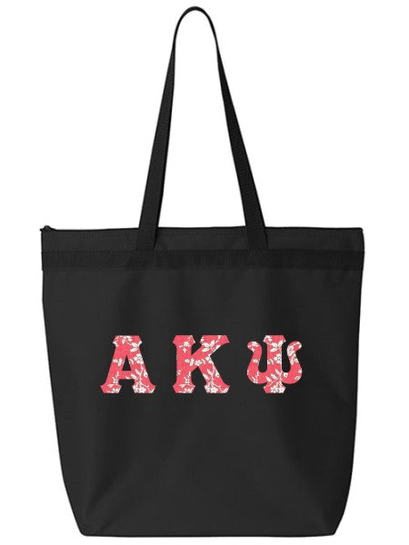Alpha Kappa Psi Large Zippered Tote Bag with Sewn-On Letters