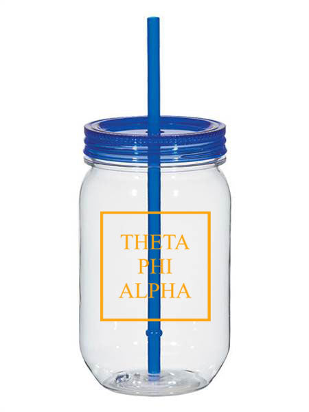 Theta Phi Alpha Box Stacked 25oz Mason Jar