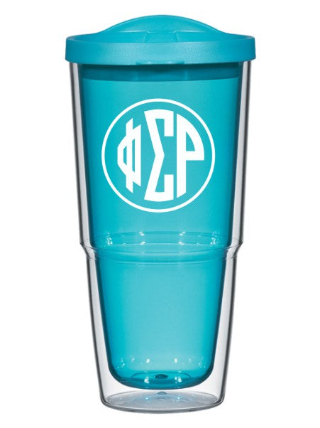 Phi Sigma Rho Circle Arrows 24 oz Tumbler with Lid