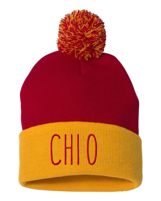 Chi Omega Sorority Beanie With Pom Pom