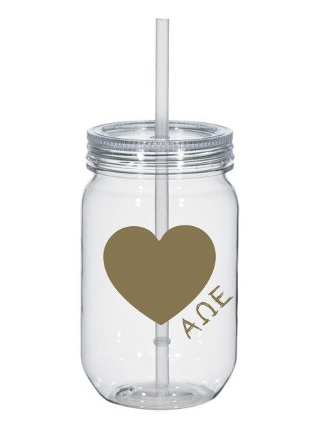 Alpha Omega Epsilon 25oz Scribbled Heart Mason Jar