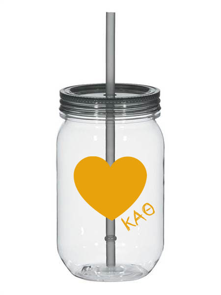 Kappa Alpha Theta 25oz Scribbled Heart Mason Jar