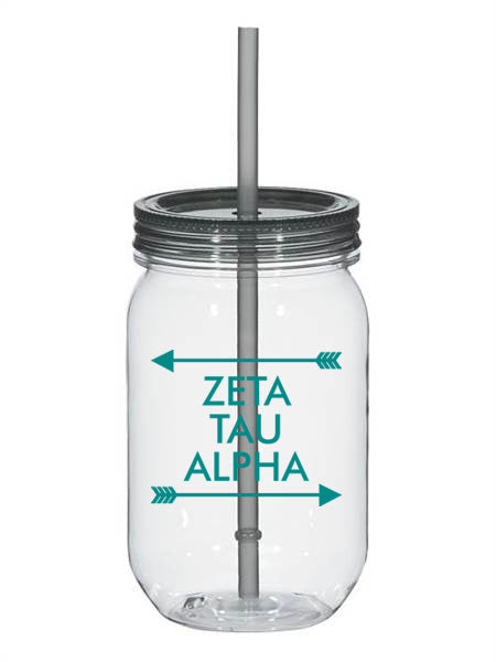 Zeta Tau Alpha Arrow Top Bottom 25oz Mason Jar