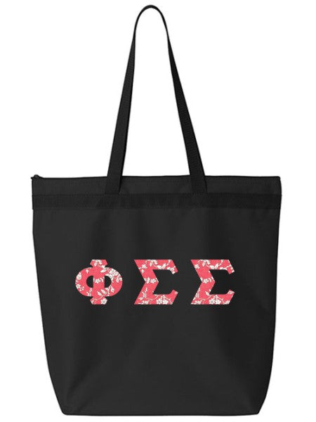 Phi Sigma Sigma Large Zippered Tote Bag with Sewn-On Letters