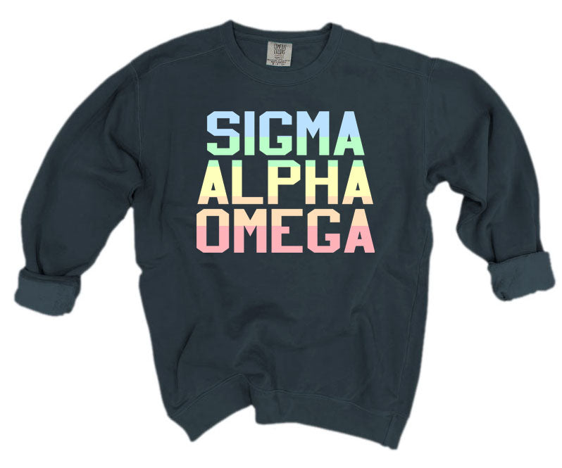 Sigma Alpha Omega Comfort Colors Pastel Sorority Sweatshirt