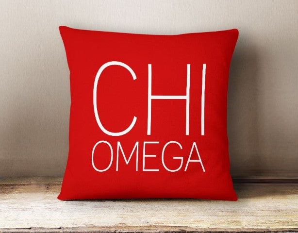 Chi Omega Simple Text Throw Pillow