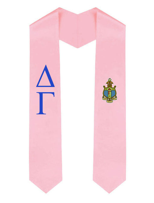 Delta Gamma Lettered Graduation Sash Stole with Crest