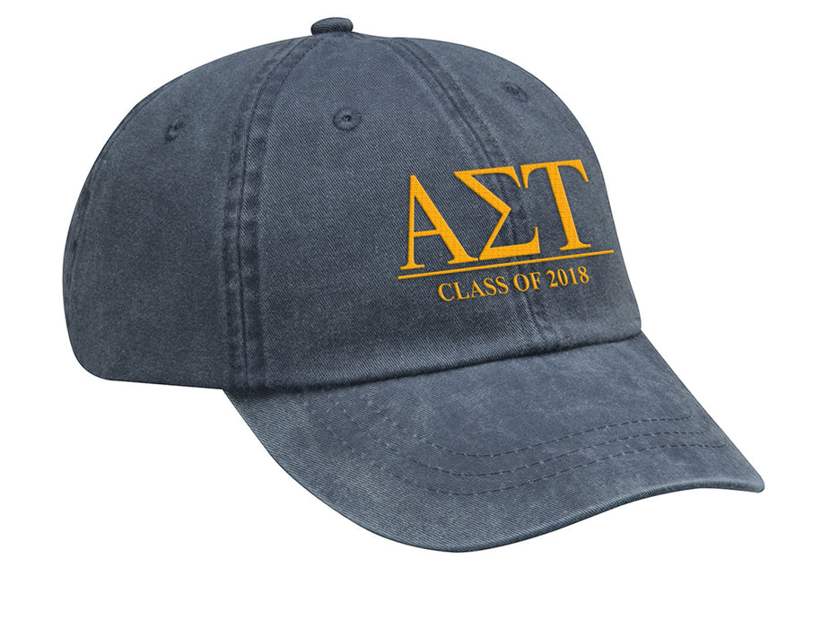 Alpha Sigma Tau Embroidered Hat with Custom Text