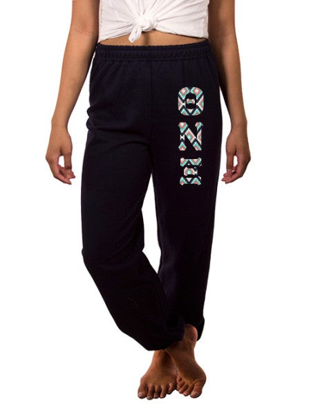 Theta Nu Xi Sweatpants with Sewn-On Letters