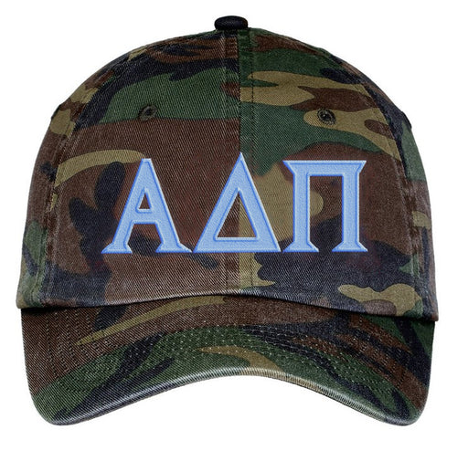 Alpha Delta Pi Letters Embroidered Camouflage Hat
