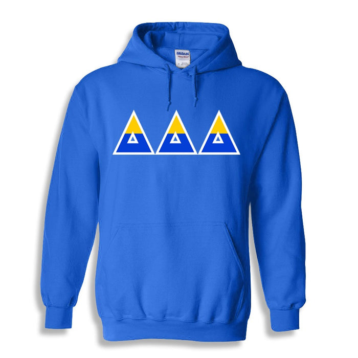 Delta Delta Delta Two Toned Lettered Hooded Sweatshirt