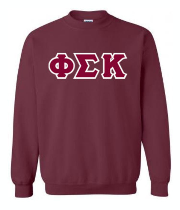 Phi Sigma Kappa Classic Colors Sewn-On Letter Crewneck