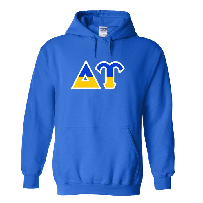 Delta Upsilon Two Toned Lettered Hooded Sweatshirt
