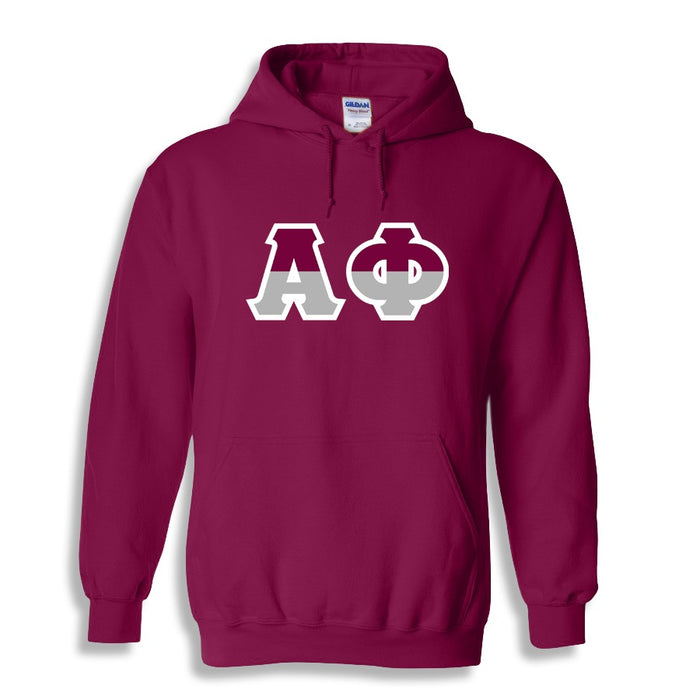 Alpha Phi Two Toned Lettered Hooded Sweatshirt