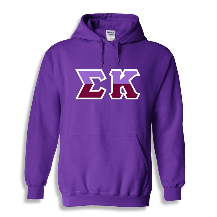 Sigma Kappa Two Toned Lettered Hooded Sweatshirt