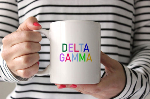 Delta Gamma Coffee Mug with Rainbows