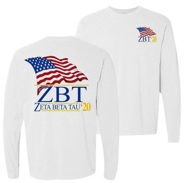 Zeta Beta Tau Patriot Flag Comfort Colors Long Tee