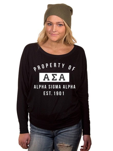 Alpha Sigma Alpha Property of Flowy Long Sleeve Off Shoulder Tee