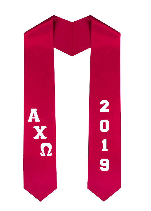 Alpha Chi Omega Slanted Grad Stole with Letters & Year