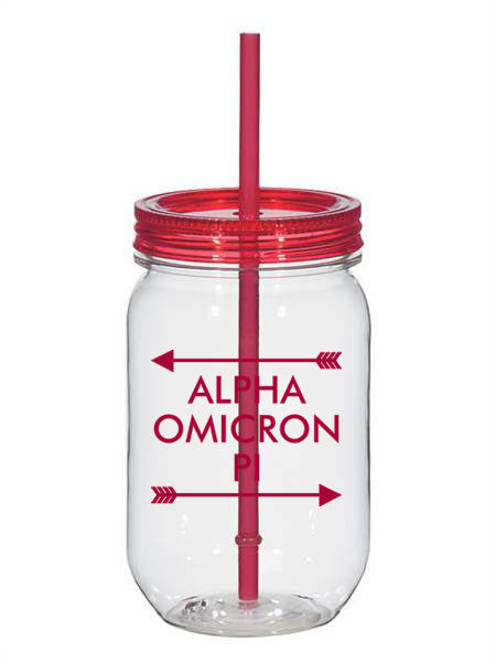 Alpha Omicron Pi Arrow Top Bottom 25oz Mason Jar