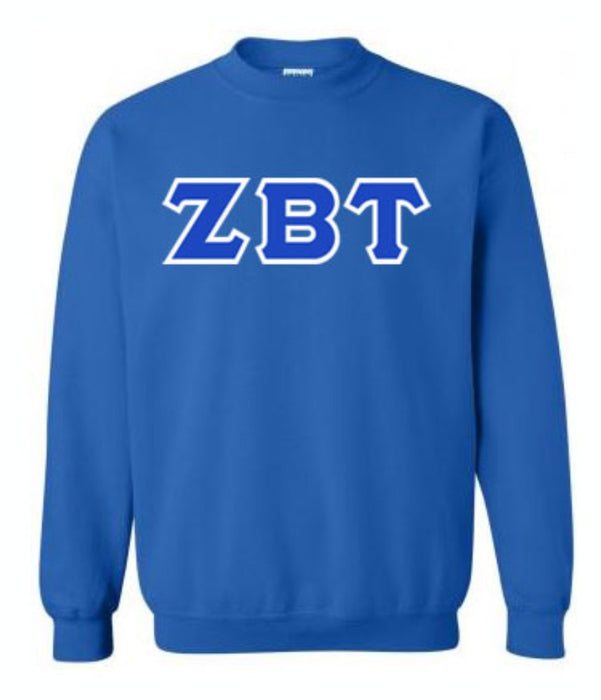 Zeta Beta Tau Classic Colors Sewn-On Letter Crewneck