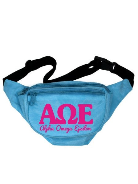Alpha Omega Epsilon Letters Layered Fanny Pack