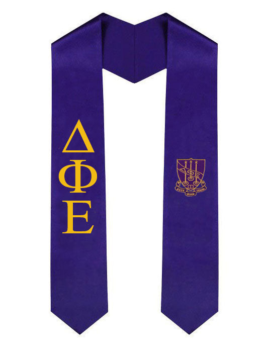 Delta Phi Epsilon Lettered Graduation Sash Stole with Crest