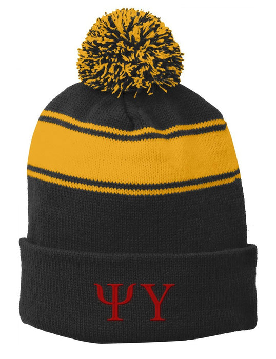 Psi Upsilon Embroidered Pom Pom Beanie