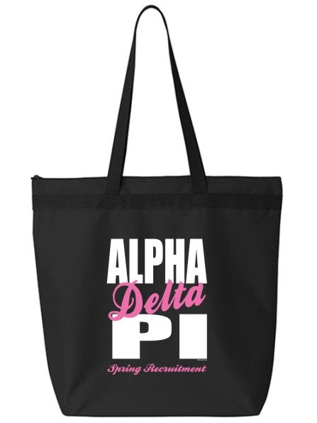 Alpha Delta Pi Cursive Impact Zippered Poly Tote