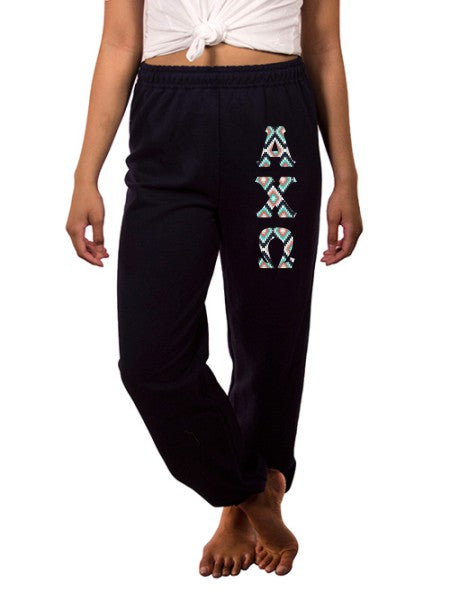Alpha Chi Omega Sweatpants with Sewn-On Letters