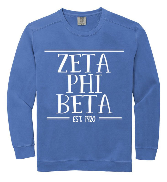 Zeta Phi Beta Comfort Colors Custom Sorority Sweatshirt