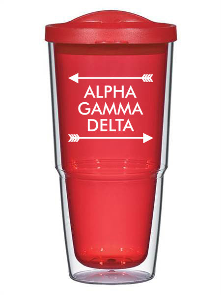 Alpha Gamma Delta Arrow Top Bottom 24oz Tumbler with Lid