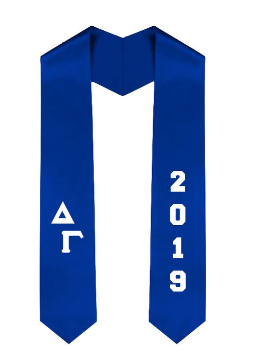 Delta Gamma Slanted Grad Stole with Letters & Year