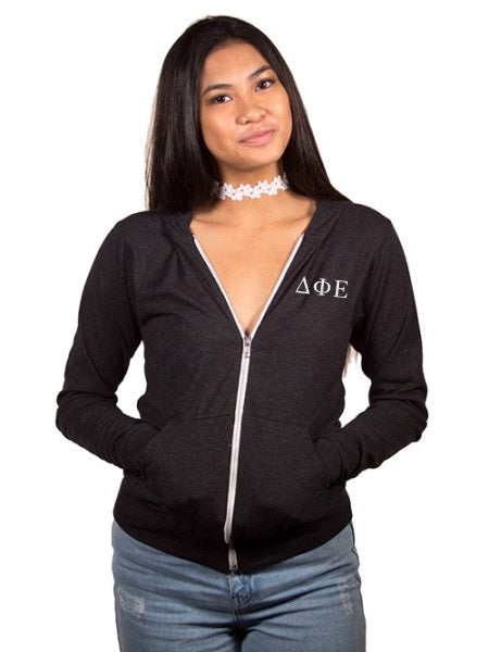 Delta Phi Epsilon Embroidered Triblend Lightweight Hooded Full Zip