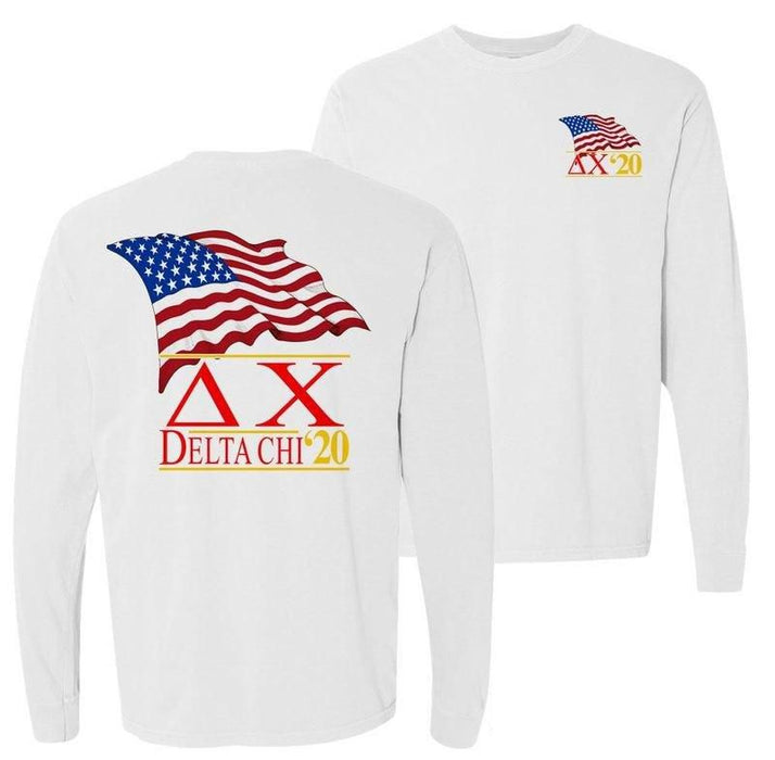 Delta Chi Patriot Flag Comfort Colors Long Tee