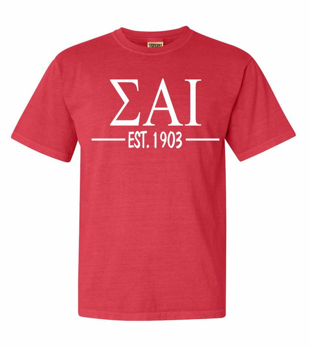 Sigma Alpha Iota Comfort Colors Established Sorority T-Shirt