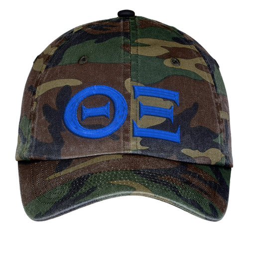 Theta Xi Letters Embroidered Camouflage Hat