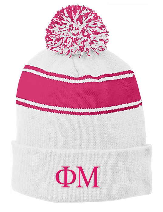 Phi Mu Embroidered Pom Pom Beanie