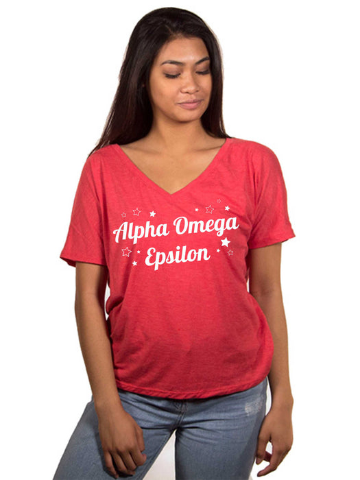 Alpha Omega Epsilon Star Flowy V-Neck