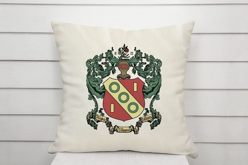 Alpha Gamma Delta Linen Shield Throw Pillow
