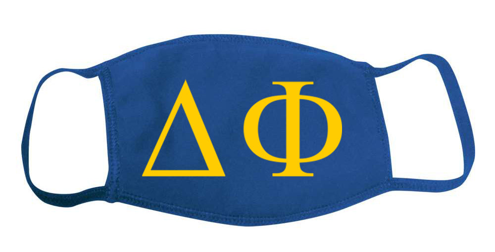 Delta Phi Face Mask With Big Greek Letters