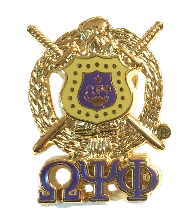 Omega Psi Phi Shield With Greek Letters Pin