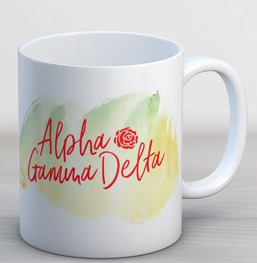 Alpha Gamma Delta Watercolor Script Coffee Mug