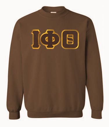 Iota Phi Theta Crewneck Sweatshirt with Sewn-On Letters