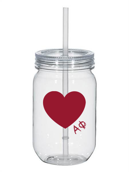 Alpha Phi 25oz Scribbled Heart Mason Jar