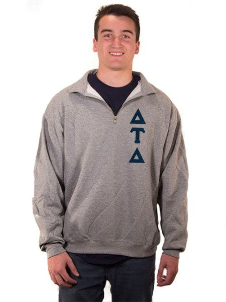 Delta Tau Delta Quarter-Zip with Sewn-On Letters