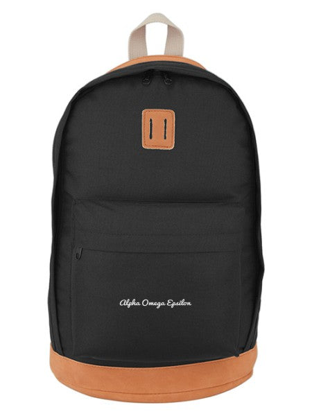 Alpha Omega Epsilon Cursive Embroidered Backpack