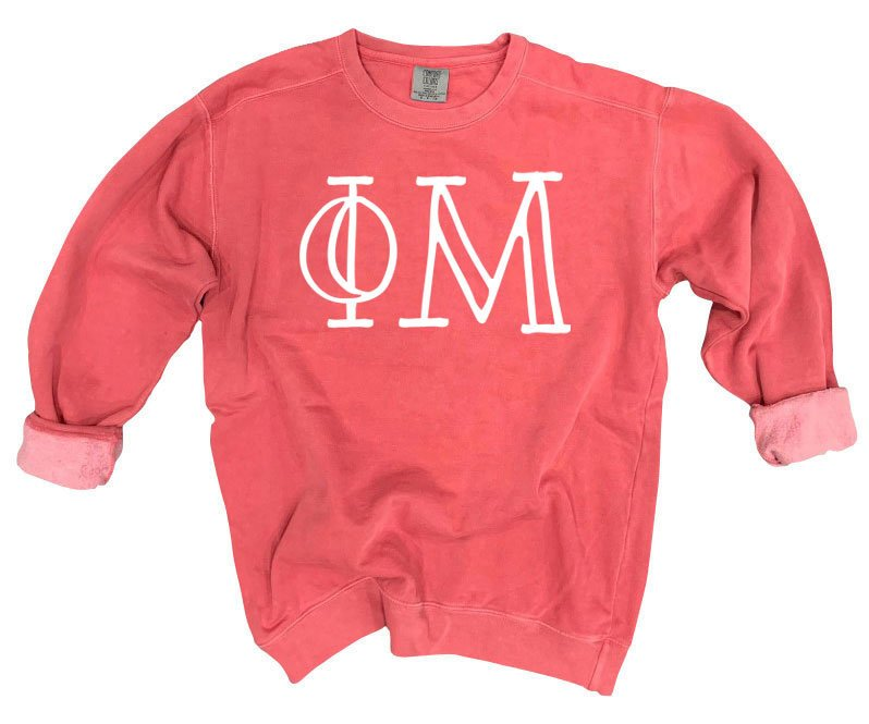 Phi Mu Comfort Colors Greek Letter Sorority Crewneck Sweatshirt